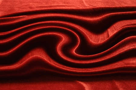 beautiful red drapery of satin on the table