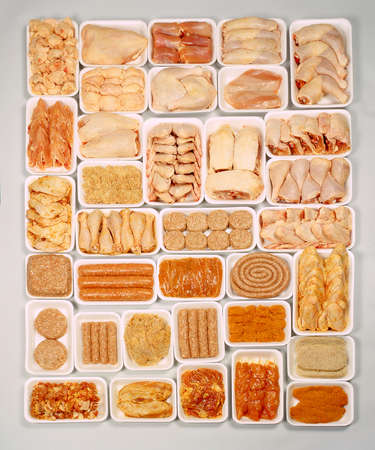 Assortment of chicken products Stock Photo