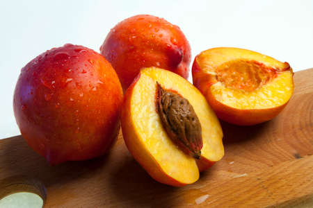 Fresh nectarines with drops of water