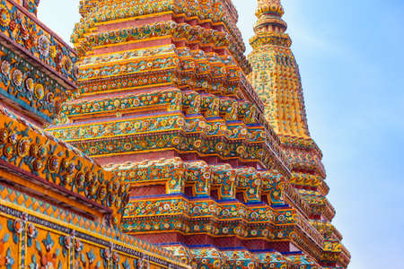 directly below: Chedis decorated with tiles, Wat Pho. Thailand Editorial