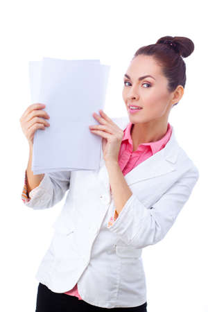 doctor holding gift: Successful  caucasian businesswoman  in white suit holding whiteboard sign. Stock Photo