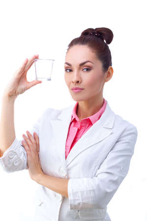antibiotic pink pill: Women doctor whith glass of medicine in hand.  All isolated on white background. Stock Photo