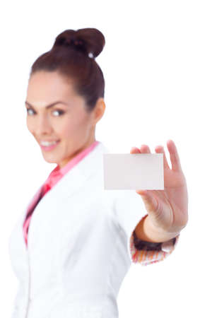 doctor holding gift: Successful businesswoman in white suit holding blank empty sign. Stock Photo