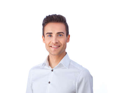 human head: Portrait of a confident young man isolated against white background Stock Photo