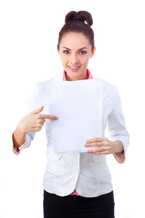 doctor holding gift: Businesswoman  in white suit holding whiteboard sign. Stock Photo