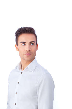 25 29 years: Portrait of a confident young man isolated against white background Stock Photo