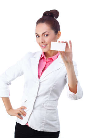 business attire teacher: Successful businesswoman in white suit holding blank empty sign. Stock Photo