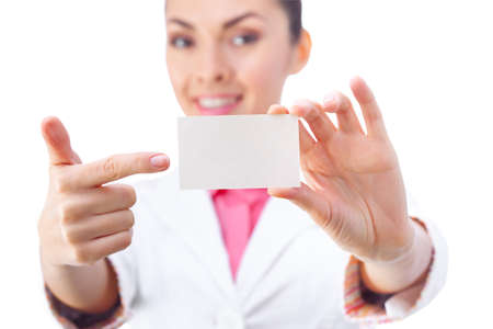 business attire teacher: Business card closeup - businesswoman in white suit holding blank empty sign. Stock Photo