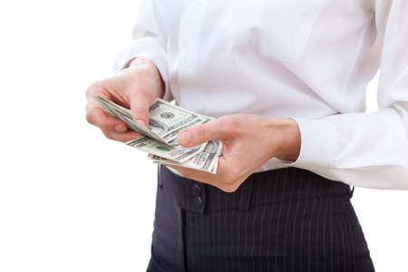 recounts: Business executive in formal suit counts money Stock Photo