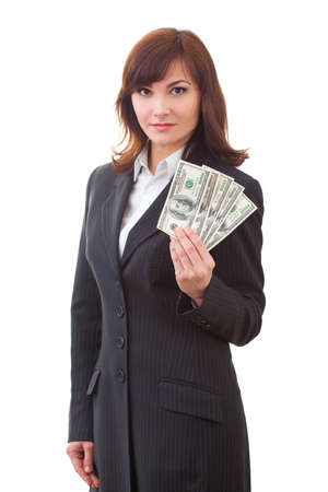 giving money: Business executive in formal suit giving money
