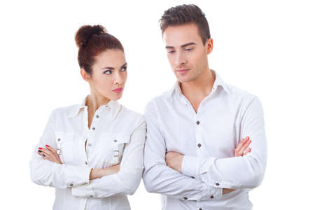 not talking: Unhappy couple not talking after an argument at home