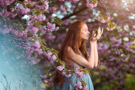 Beautiful pregnant woman smells blossom, outdoor in nature.