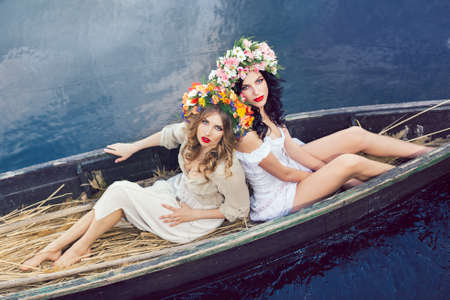 Sexy girls on a boat