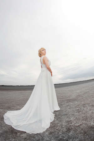 fish eye lens: Bride outdoors in a desert looking afar. Beautiful woman in white dress full body length. Fish eye lens photo. Gray background copy space good for texting. Some fine art noise.