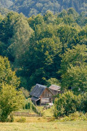 Old single house farm in mountains. Carpathians Mountains Ukraine photo
