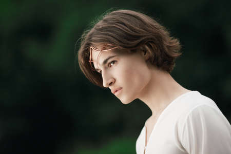 Retrato de homem bonito com coroa na floresta. Príncipe dos elfos. Duende de fadas nobre na floresta mágica. Fantasia. Conto de fadas. Foto de archivo