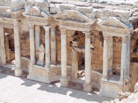 Roman amphitheatre in the ruins of Hierapolis, in Pamukkale, Turkey.
