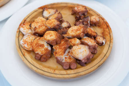 Galician style octopus, pulpo a la gallega.