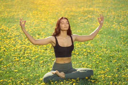Young girl doing yoga in the park. Woman practicing yoga performing lotus position outdoors with closed eyes. Young attractive slim girl in bodysuit relaxing and doing exercises on flowers field in park. Happy lovely mixed race Asian Caucasian young model resting outside on nature during holidays. Front view. Sunny summer photo. Stock Photo