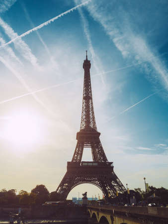 View of the Eiffel tower at sunrise, Paris, France. Stock Photo