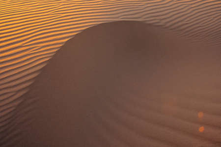 Waves of sand texture. Dunes of the desert at sunset. Beautiful structures of sandy barkhans.