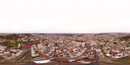Seamless round aerial panoramic view of town hall of Lviv city in Ukraine, Europe.