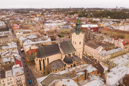 Aerial view of town hall of Lviv city in Ukraine, Europe.