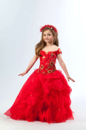 little girl dancing: A young girl in costume princess Stock Photo