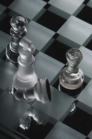 chess pieces made of glass Stock Photo