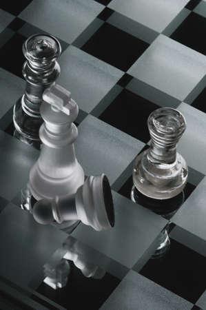 chess pieces made of glass Archivio Fotografico