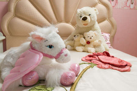 playthings: family of three bears, soft toys Stock Photo