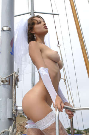young naked woman on a yacht Stock Photo - 7918159