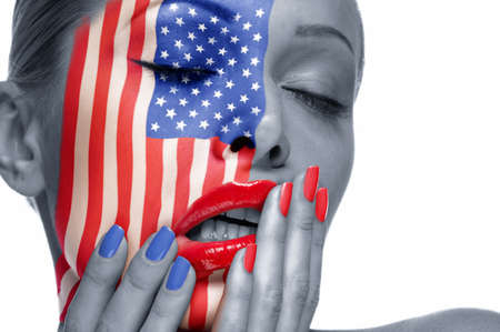 The womans face with the image of American flag photo
