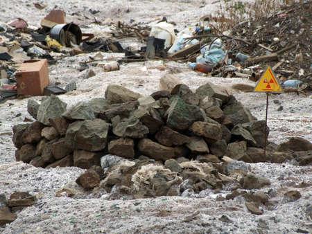 Radiation sign, landfill Stock Photo - 8118689