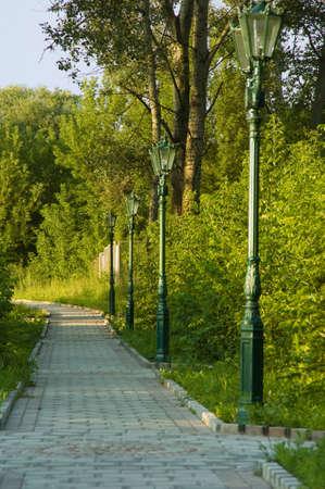 pedestrian walkway: pedestrian walkway in the park in summer