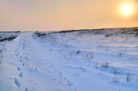 snowbanks: layers of snow brought in by the wind Stock Photo