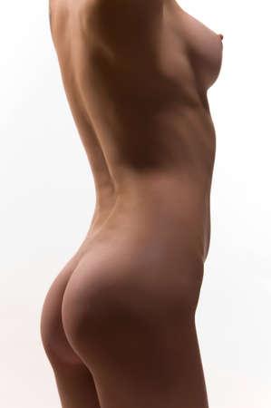 beautiful naked brunette on the isolated background