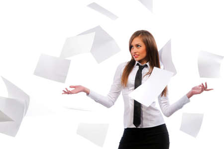 Beautiful girl scatters documents. White background, isolated. Stock Photo - 9152822