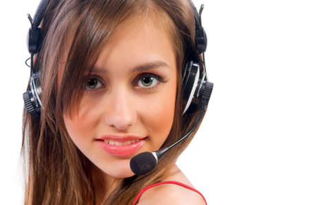 woman with a headset. Attractive woman with headset smiling Stock Photo - 9152824