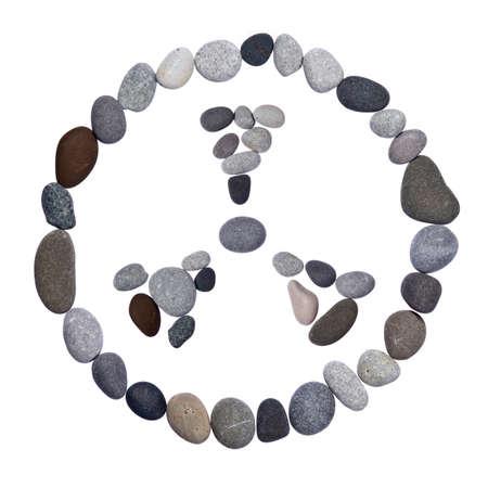 Radiation warning sign of stones on a white background photo