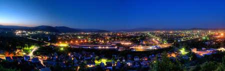 night panoramic view of Mukachevo city. Ukraine Stock Photo - 9793610