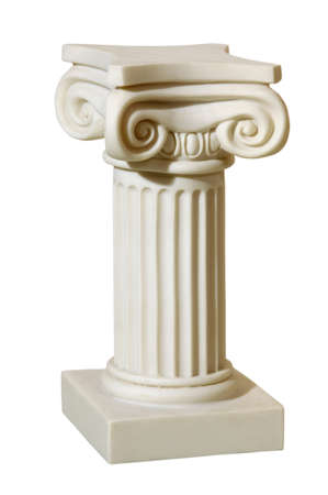 pedestal: Statue of columns in Greek style, a modern copy of plaster. Isolated background