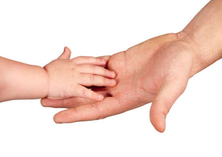 hands of a man and a young child. Clipping path photo