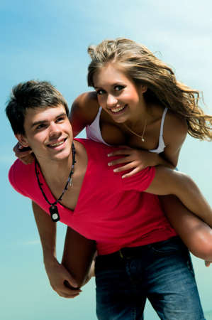 happy young couple have romantic recreation and fun at beautiful beach on vacations