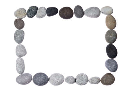 pebbles forming and border over white background