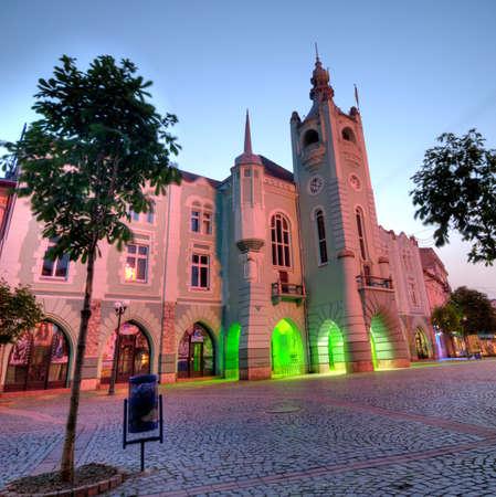 Evening view of the town hall Mukachevo Stock Photo - 10761536