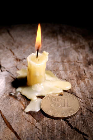 peace risk: Good luck and a candle on a black background Stock Photo