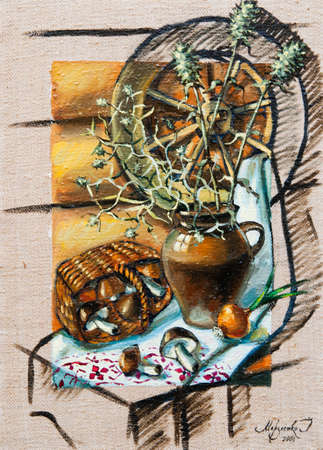 Oil painting still life with jug and mushrooms photo
