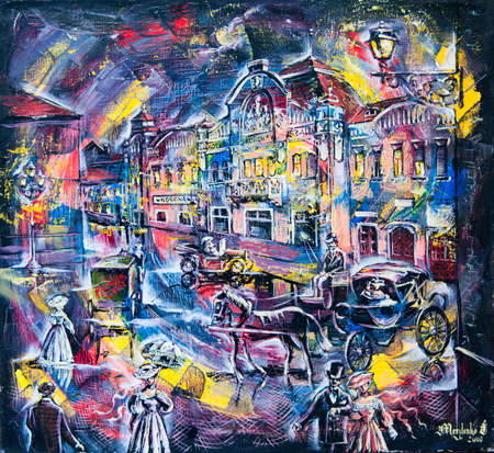 graphic picture of the oil city at night with people and coach photo