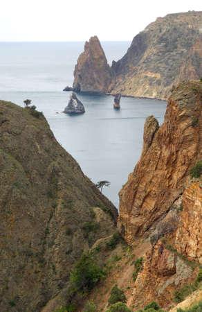 Sea landscape with rocks, recorded in place Fiolent in region Crimea on Black sea. photo
